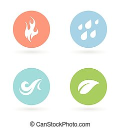 -, aarde, vier elementen, natuurlijke , iconen, lucht., water, vuur