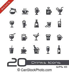 --, grondbeginselen, dranken, iconen