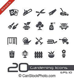 --, grondbeginselen, tuinieren, iconen
