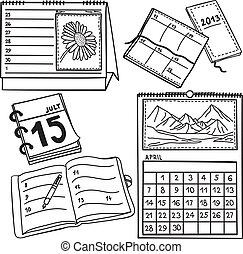 -, hand-drawn, set, kalenders, illustratie