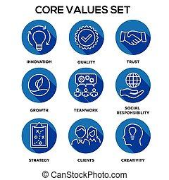 -, hartstocht, kern, of, integriteit, visie, waarden, eerlijkheid, missie, samenwerking, waarde, doel, set, pictogram, brandpunt