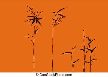 -, japanner, beweegreden, vector, 4, bamboe