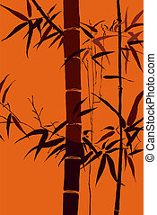 -, japanner, beweegreden, vector, 5, bamboe