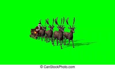 -, kerstman, arreslee, scherm, groene, geanimeerd, claus, reindeers