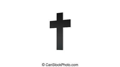-, kruis, loopable, vrijstaand, achtergrond., animatie, omwenteling, witte , 3d