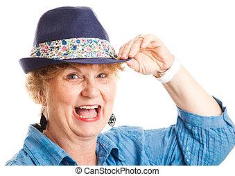 -, lachen, vrouw, van middelbare leeftijd, vrolijke