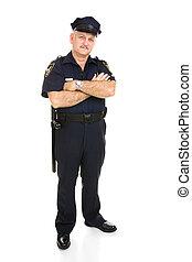 -, lichaam, politieagent, vrijstaand, volle