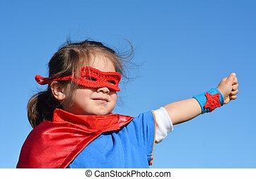 -, meisje, kind, superhero, macht