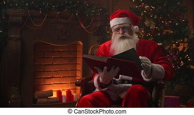 -, pagina's, kerstmis, op, blij, clausule, achtergrond, afsluiten, rood, door, authentiek, bedekt, boek, concept, boompje, geest, kerstman, het wegknippen, openhaard