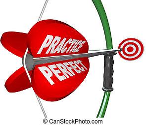 -, richten, perfect, oog, maakt, stier, boog, praktijk, richtingwijzer