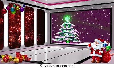 -, scherm, 19, kerstmis, feitelijk, achtergrond, tv stel, studio, lus, groene