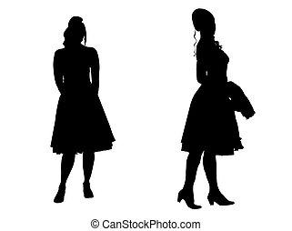 -, silhouette, jonge vrouwen