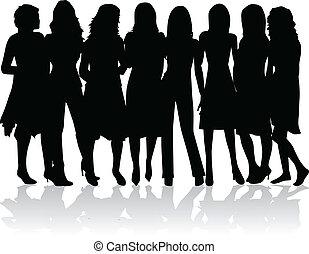 -, silhouettes, vrouwen, groep, black