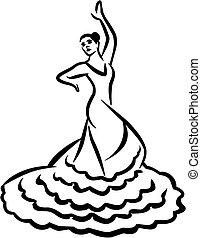 -, stijl, danser, flamenco, caligraphy