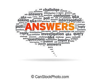-, tekstballonetje, antwoorden