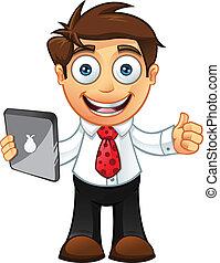 -thumbs, man, tablet, zakelijk, op