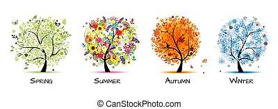 -, vier, kunst, herfst, mooi, boompje, lente, ontwerp, winter., jaargetijden, zomer, jouw