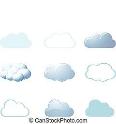 -, weer, wolken, iconen