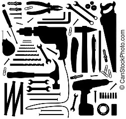 -, werktuig, silhouette, illustratie, diiy