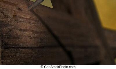 -, zoom, spijkers, houten, kruis, fototoestel, pan, einde, twee