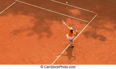 01, het tennis dient, spel, sinaasappel, meisje