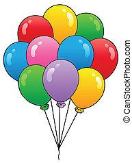 1, ballons, groep, spotprent