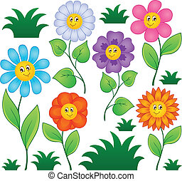 1, bloemen, spotprent, verzameling