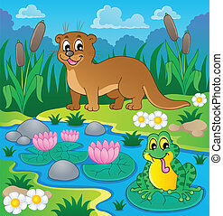 1, fauna, rivier, thema, beeld