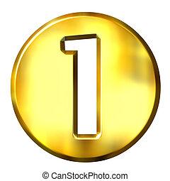 1, gouden, 3d, getal, ingelijst