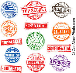 1, grunge, postzegels, set, commercieel