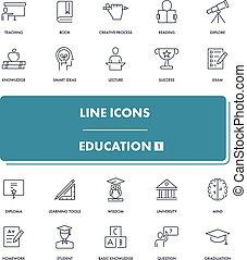 1, lijn, opleiding, set., iconen