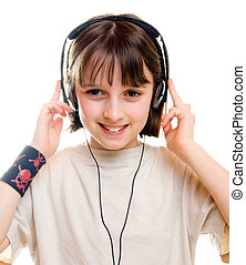 1, meisje, muziek luisteren