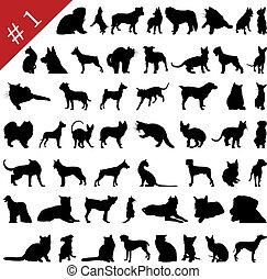 1, silhouettes, #, huisdieren