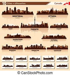 #1, silhouettes, set., skyline, stad, canada, tien