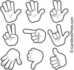 #1, spotprent, handen