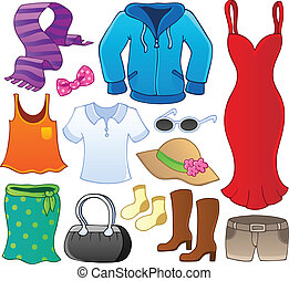 1, thema, verzameling, kleren