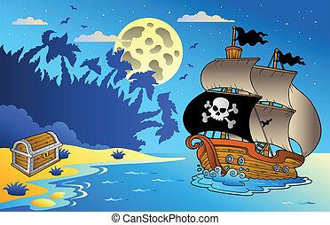 1, zeezicht, scheeps , zeerover, nacht