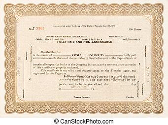 100 aandelen, lovelock, nevada, certificaat, 1918, liggen