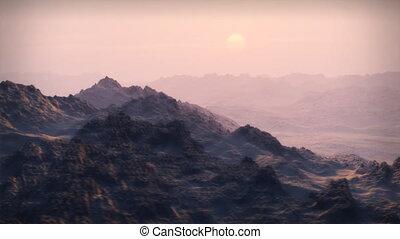 (1065), ondergaande zon , bergen, besneeuwd, wildernis