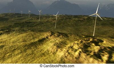 (1114), macht, wildernis, prairie, rooster, ondergaande zon , turbine, stormachtig, wind
