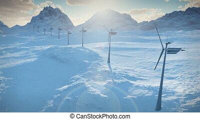 (1152), macht, elektriciteit, energie, turbines, sneeuw, boerderij, wind, schoonmaken, alternatief, lus, winter
