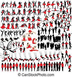 150, silhouettes, vrije tijd, mensen