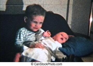 (1964, ouderwetse , 8mm), broer, baby, nieuw