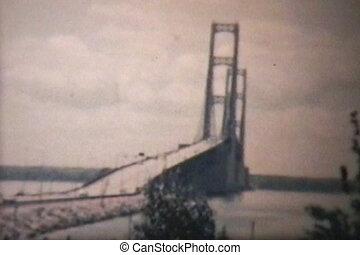 (1965, mackinac, 8mm), brug, ouderwetse