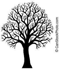 2, boompje, zonder, silhouette, blad