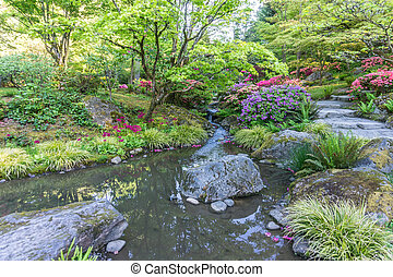 2, rotsachtig, stroom, tuin