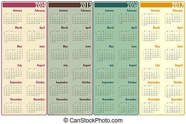 2014-2017, kalender