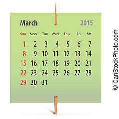 2014, kalender, maart
