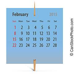 2014, kalender, notepaper, februari