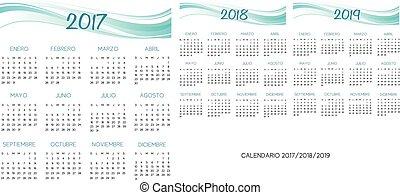 2017-2018-2019, kalender, vector, spaanse
